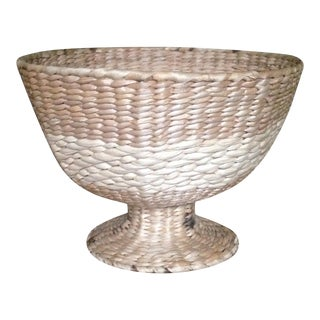 Vintage Natural Straw Pedestal Bowl