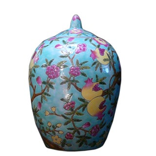Chinoiserie Floral Pomegranate Jar