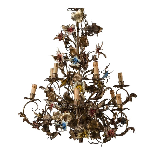 French Large All Tole Floral Chandelier - Image 1 of 11