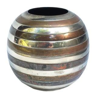 Vintage Brass & Silver Ringed Vase