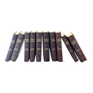 French Antique Leather Bound Books - Set of 10