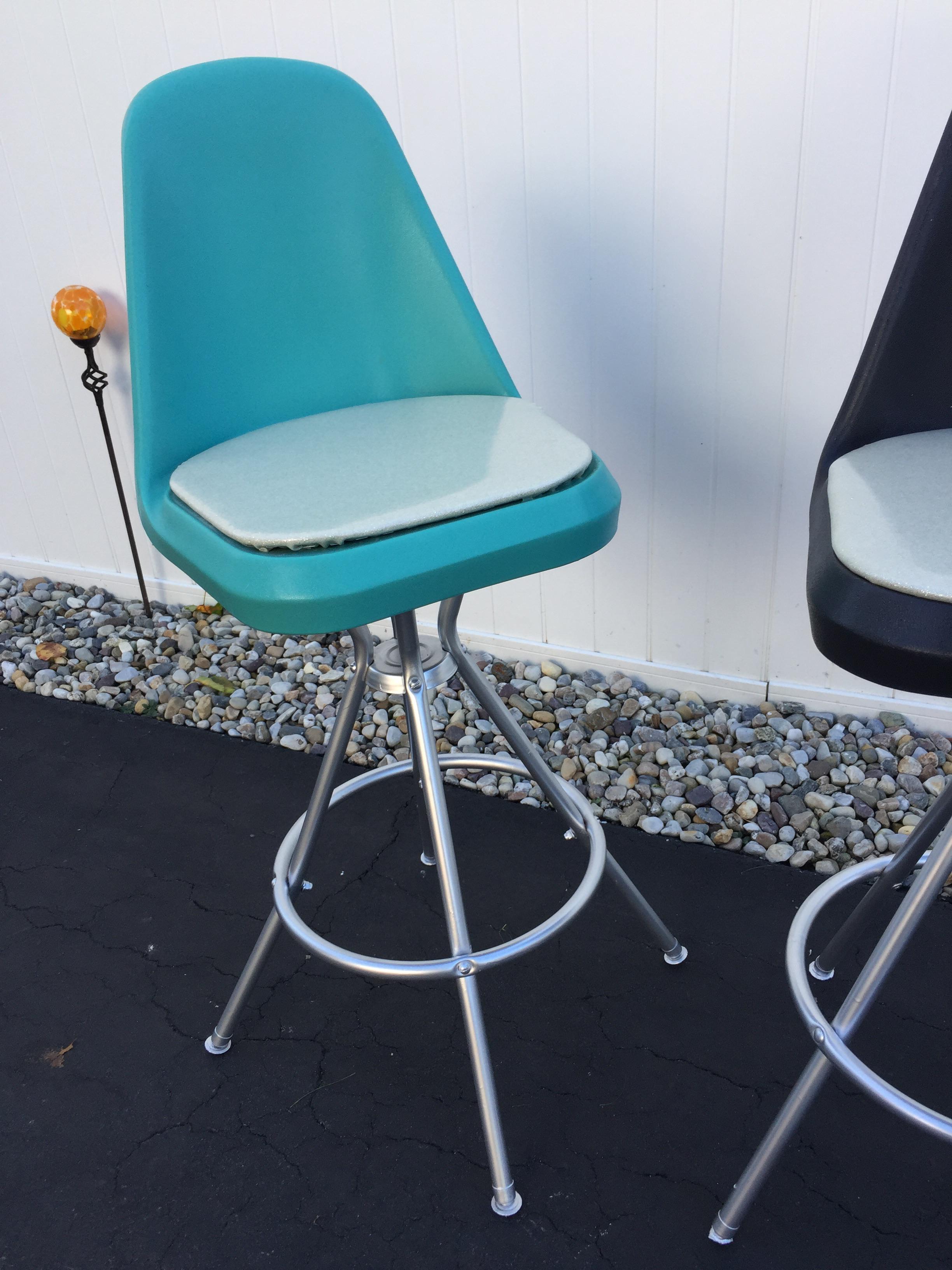 Mid Century Turquoise And Black Swivel Bar Stools Set Of