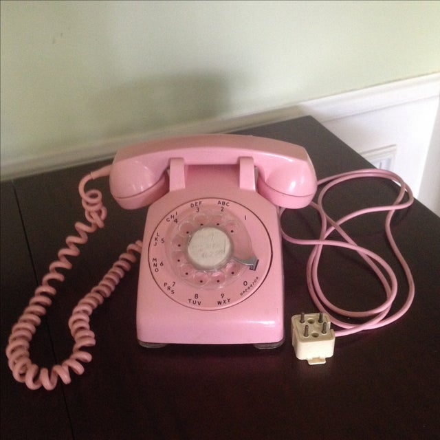 Image of Vintage Pink Rotary Dial Telephone