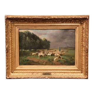 19th Century French Sheep Painting in Gilt Frame Signed Charles Clair