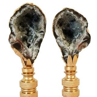 Oco Agate Geode Lamp Finials - A Pair