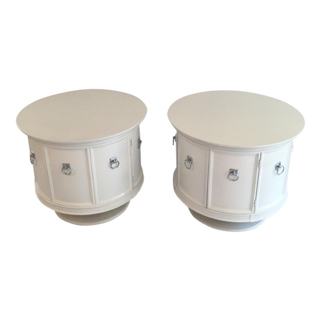 Mid-Century White Drum Shaped Side Tables - Pair - Image 1 of 4