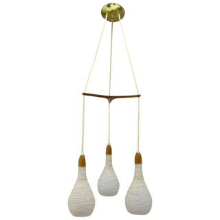 Mid-Century Teak and Glass Pendant Chandelier Attributed to Luxus of Sweden