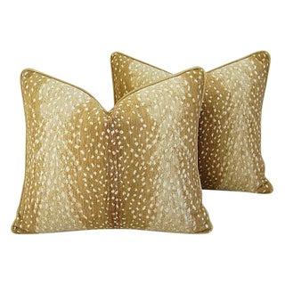 Custom Tailored Antelope Deer Fawn Velvet Feather/Down Pillows - Pair