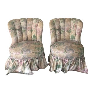 1940's Channel Back Slipper Chairs- A Pair
