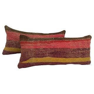 Striped Camel Sack Lumbar Pillows - A Pair