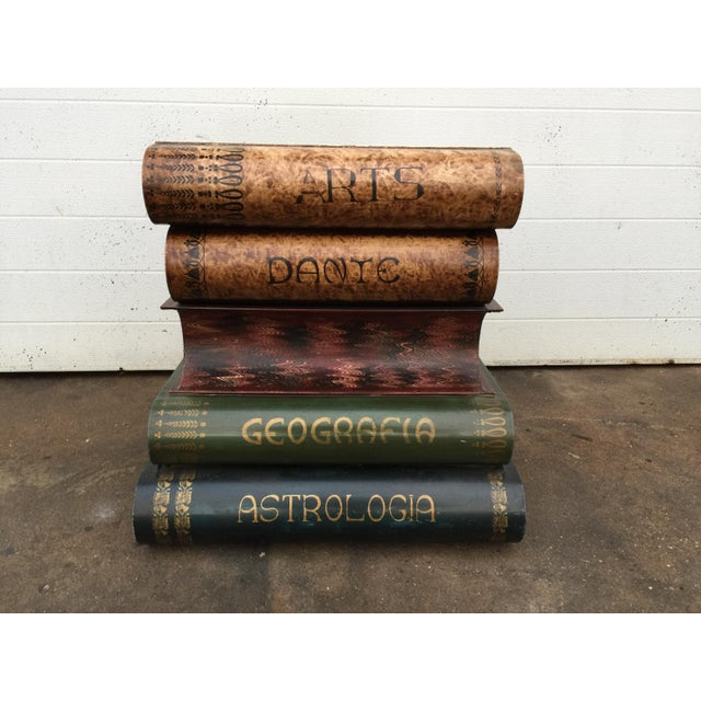 Italian Metal Tole Painted Book Stack Table - Image 4 of 9