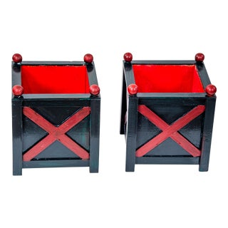 Dark Green & Red Cachepots - A Pair