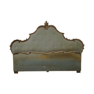1950s Vintage Italian Gilt Wood Louis XV Style Upholstered King Size Headboard