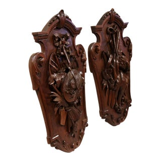 19th Century French Carved Walnut Black Forest Trophies - A Pair