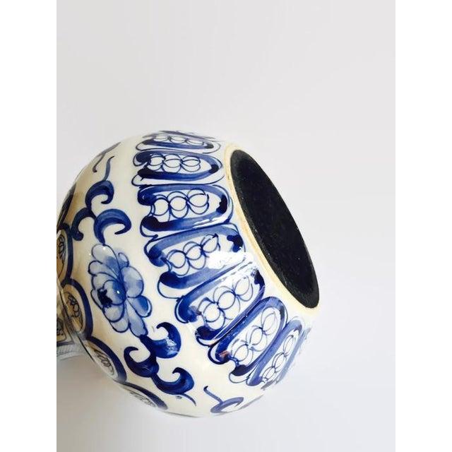 Image of Vintage Cobalt Blue Hand Painted Pottery Vase