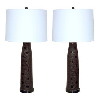 Textured Black Glass Lamps - A Pair