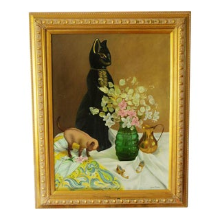 Still Life With Ceramic Cats Oil Painting
