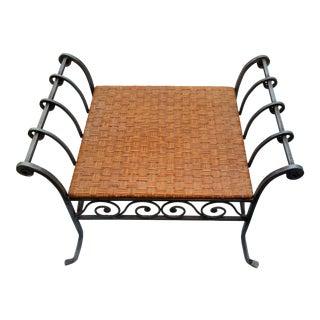 Vintage Iron & Rattan Bench