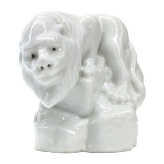White Vintage Porcelain Lion Figurine on a Rock