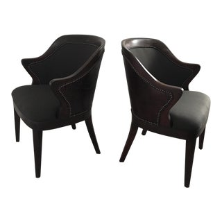 Leather & Fabric Barrel Chairs - A Pair