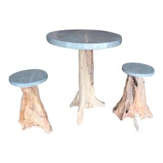 Handmade Tree Trunk Table & Stools