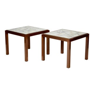 Pair Mid-Century Square Bronze Metal Side Tables with Marbelized Mirror Tops