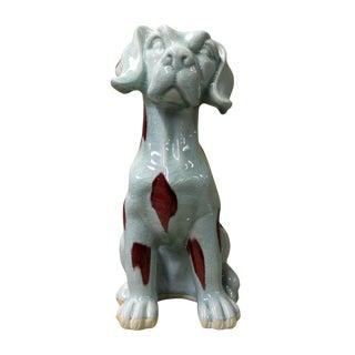 White & Red Glazed Ceramic Dalmatian Dog Figure