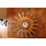 Image of Gilded Wood Sunburst Wall Clock