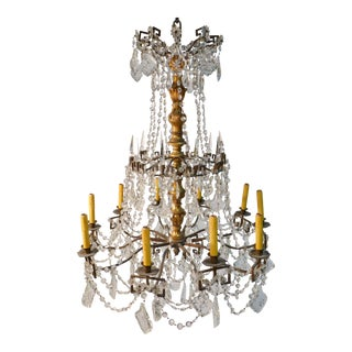 Antique Bronze Crystal & Wood Chandelier