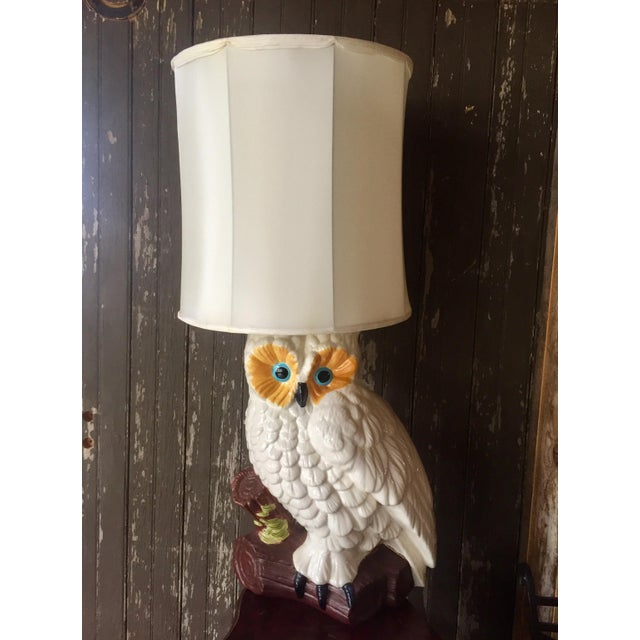Image of White Ceramic Owl Lamp