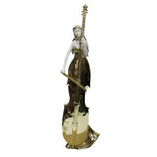 Gold White Cello & Lady Fiber Glass Figurine