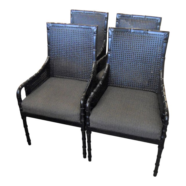 Palecek Black Bamboo Framed Chairs - Set of 4 - Image 1 of 5