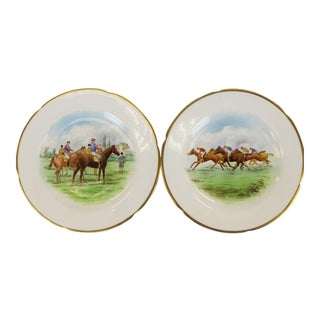 English Racehorse Dinner Plates - A Pair
