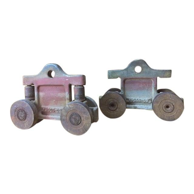 Antique barn door roller hardware chairish for Barn door rollers