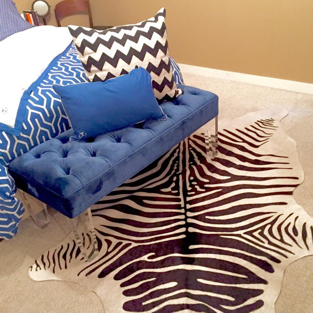 Zebra Stenciled Black Ivory Hide Rug - 6'10 X 5'7 - Image 8 of 9