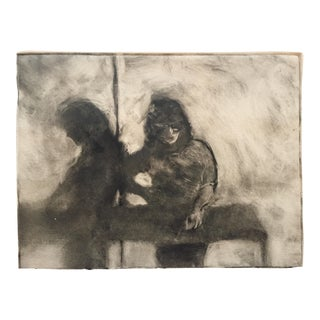 1980s Vintage Two Figures Lithograph by Lisa Winick