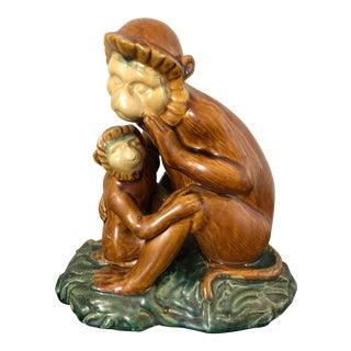 Vintage Majolica Pottery Monkey Figure