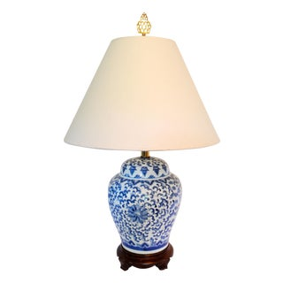 Vintage Blue Ginger Jar Chinoiserie Lamp