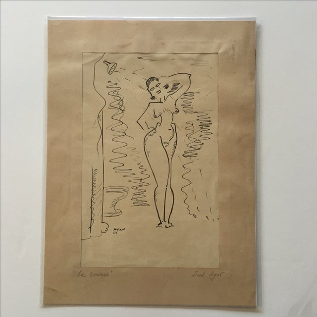 Image of Richard Ayer Vintage 'La Source' Drawing