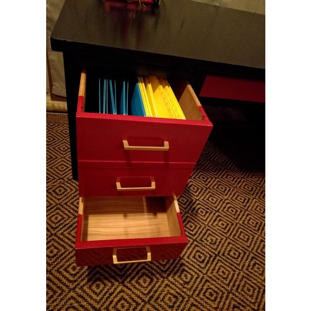 Mid-Century Black & Red Solid Wood Desk - Image 6 of 11
