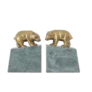 Marble & Brass Bear Bookends - A Pair