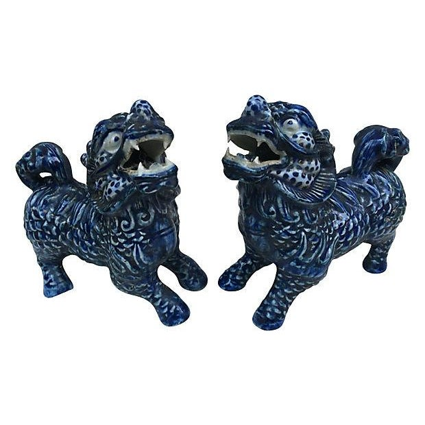 Blue & White Foo Dogs - A Pair - Image 1 of 5