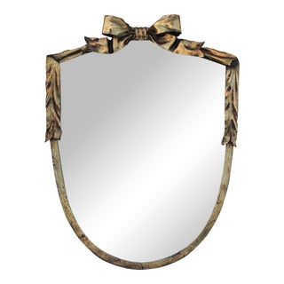 Dorothy Draper Style Gilt Bow & Shield Mirror