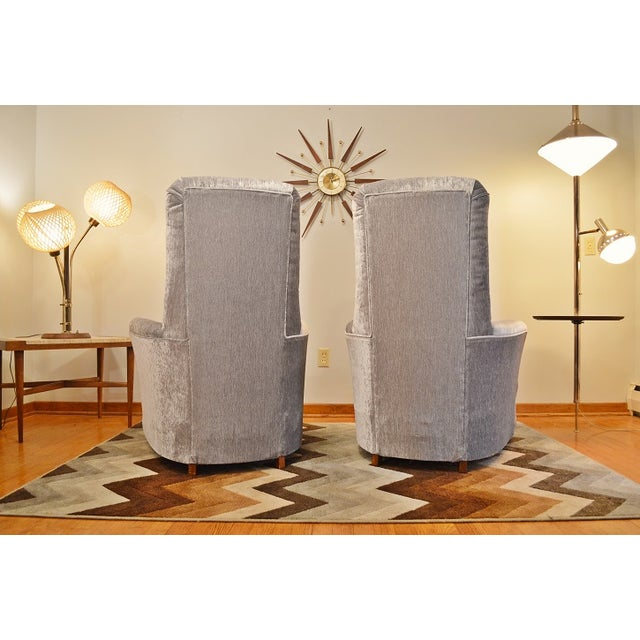 Mid Century Velvet Tufted High-Back Chairs - Pair - Image 5 of 8