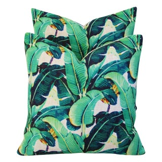 Dorothy Draper-Style Banana Leaf Feather/Down Pillows - Pair