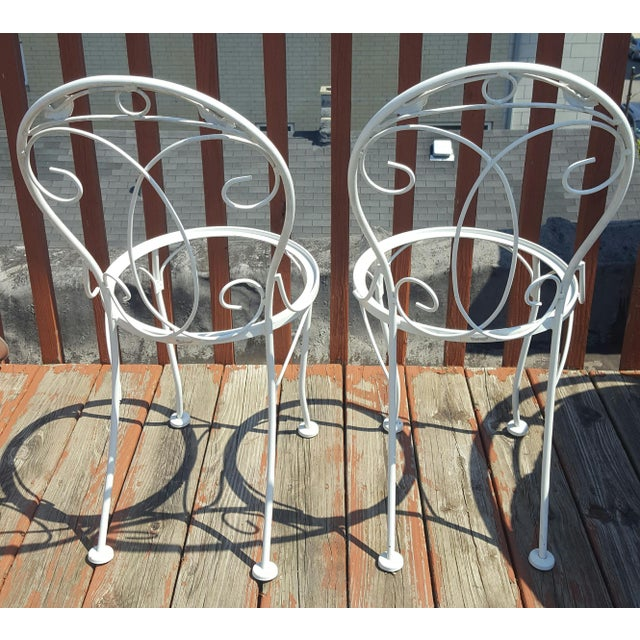 Vintage Meadowcraft White Wrought Iron Bistro Table & Chairs- Set of 3 - Image 5 of 6