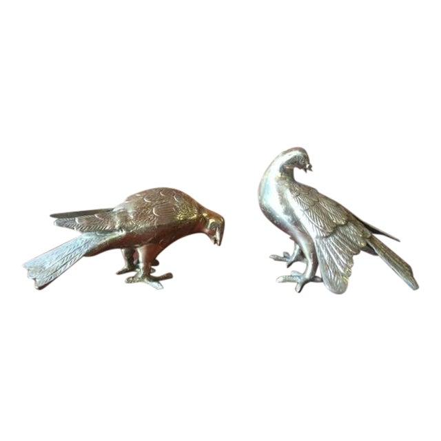 Vintage Heavy Brass Decorative Birds - Pair - Image 1 of 4