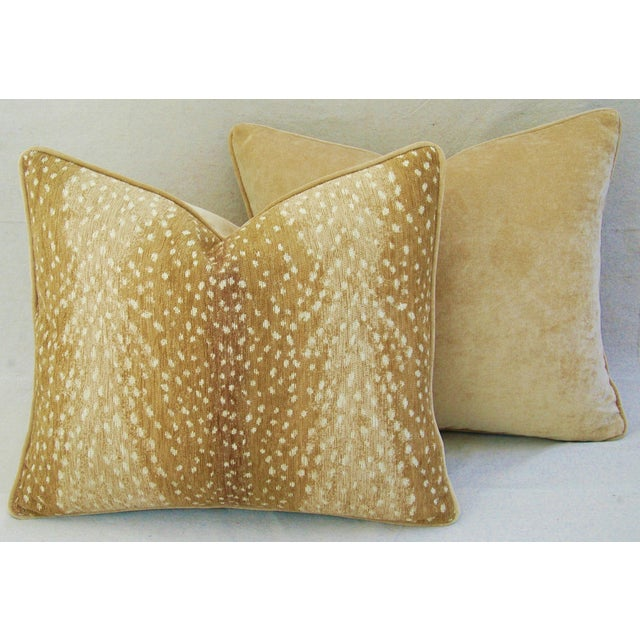 Custom Tailored Antelope Fawn Spot Velvet Feather/Down Pillows- Pair - Image 6 of 10