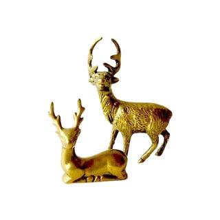 Hollywood Regency Brass Reindeer - Pair Deer