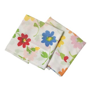 Vintage Floral Block Stamp Queen Pillow Cases - A Pair